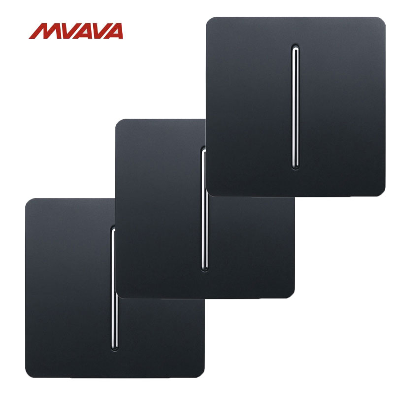 Free Shipping,MVAVA 3 Pack 16A AC100V-250V 1 Gang 1/2 Way Light Control Wall Switch Wall Decorative Push Button Luxury PC Black  mvava push button light wall switch 3 gang 1 way 16a 250v luxury white crystal glass panel factory direct sale free shipping