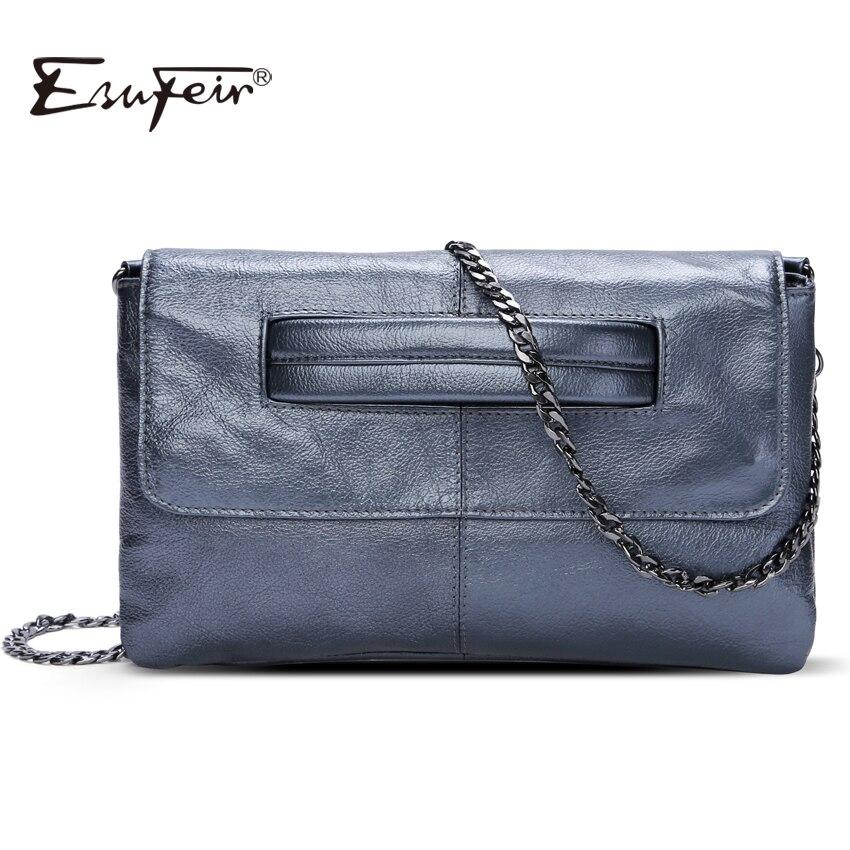New 2018 ESUFEIR Brand Genuine Leather Women Messenger Bag Chains Shoulder Bag Fashion Envelope Clutch Bag