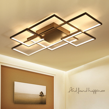 NEO Gleam Rectangle Coffee/White Color Modern Led Chandelier for living room bedroom Home deco Dimmable+RC Ceiling