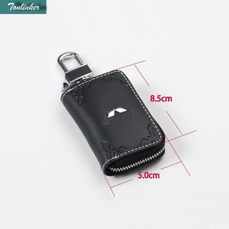 Tonlinker 1PCS Car NEW leather two color leather car key cover case Stickers for Mitsubishi ASX Pajero Sport Outlander Lancer EX