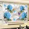 Free Shipping Hand Painted Flowers Silk Fresco TV Background Wall Wallpaper Custom High Quality Mural