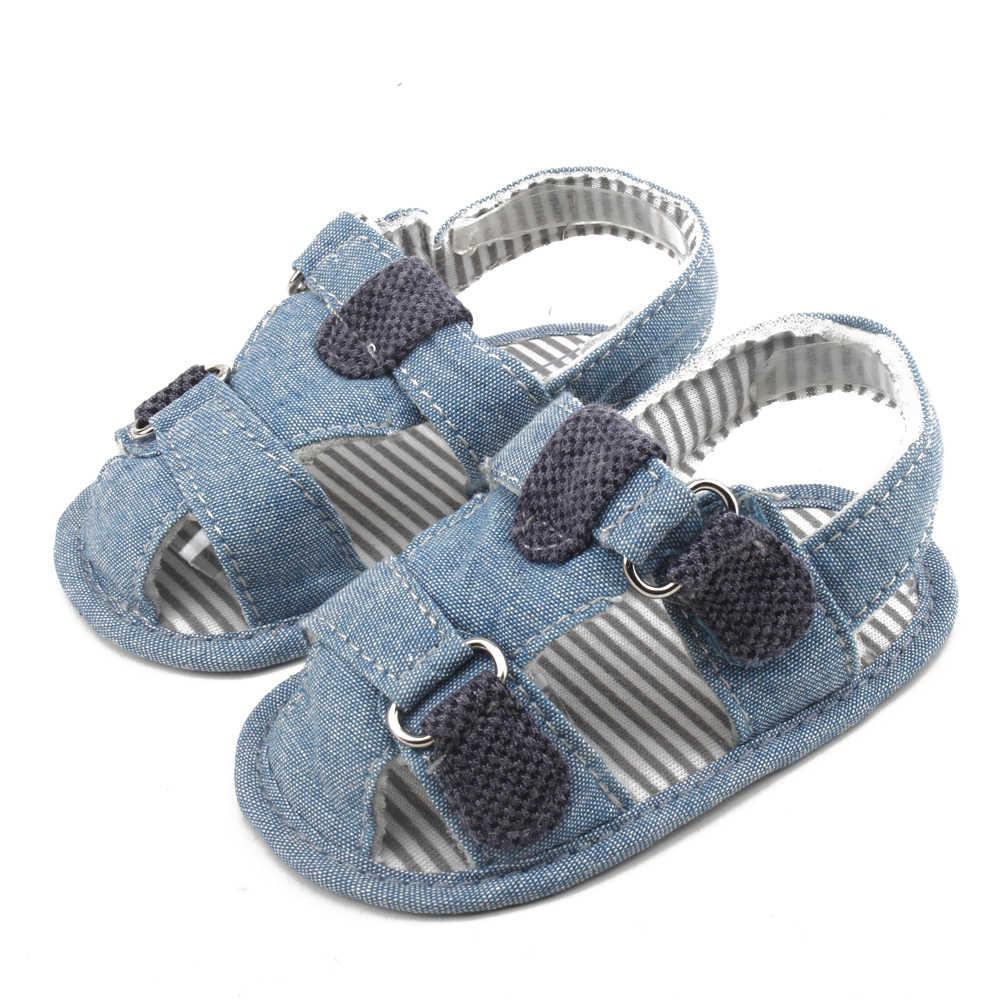 2019 sandalias de bebé de nuevo diseño de rayas verdes sandalias de verano para (0-18) meses zapatos de bebé