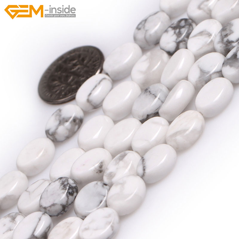 Gem-inside Natural Oval Pink Opal White Howlite Stone Beads For Jewelry Making 8X10mm 15inches DIY Jewellery