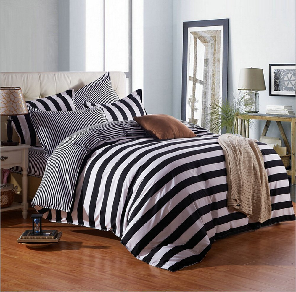 classic 3/4pcs cotton stripe bedding set duvet cover set bed linen bed sheet set