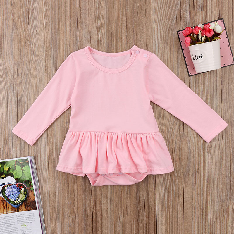8caa98c5340e Cute Newborn Baby Girl Long Sleeve Solid Color Cotton Tutu Skirted Romper  Jumpsuit Outfits Baby Clothes 0 24M Tags