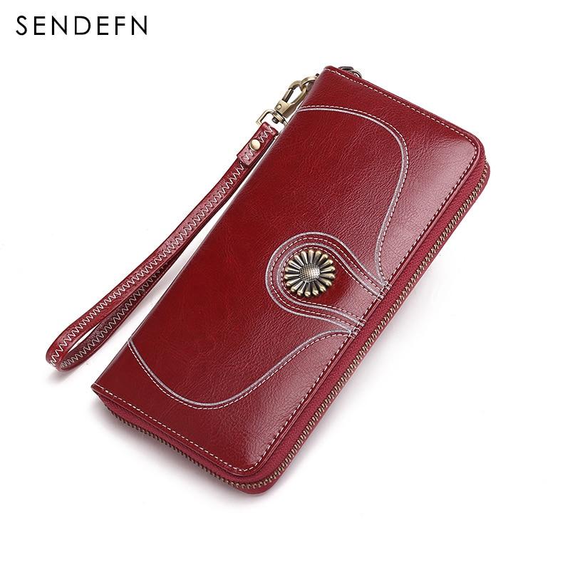 New Vintage Style Women Clutch Quality Wallet Split Leather Wallet Female Long Wallet Women Zipper Purse Flower Large Capacity