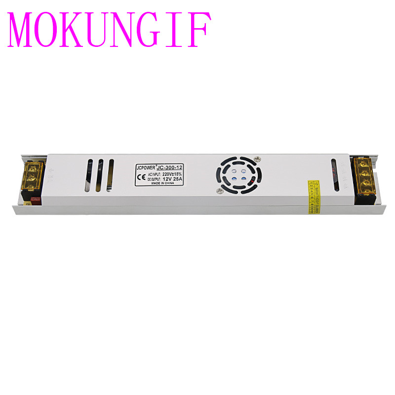 Fast shipping 30pcs High quality LED Strip long thin Switch <font><b>Power</b></font> <font><b>supply</b></font> AC220V To DC <font><b>12V</b></font> <font><b>25A</b></font> 300W Switch <font><b>Power</b></font> <font><b>Supply</b></font> image