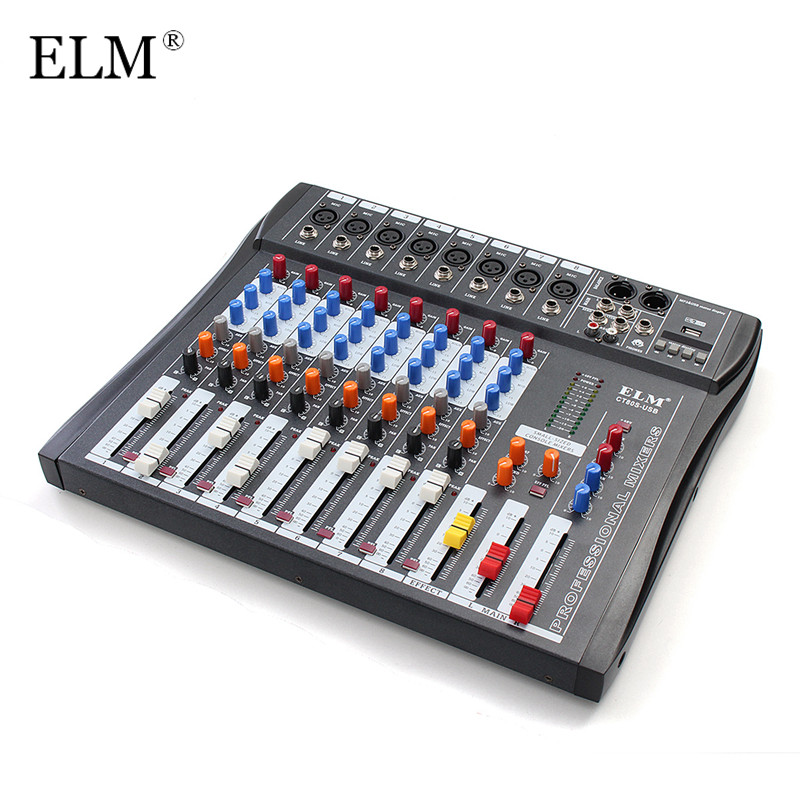 ELM Professional 8 Channel Microphone Digital Sound Mixing Amplifier Console Karaoke Audio Mixer 48V Phantom Power With USBELM Professional 8 Channel Microphone Digital Sound Mixing Amplifier Console Karaoke Audio Mixer 48V Phantom Power With USB