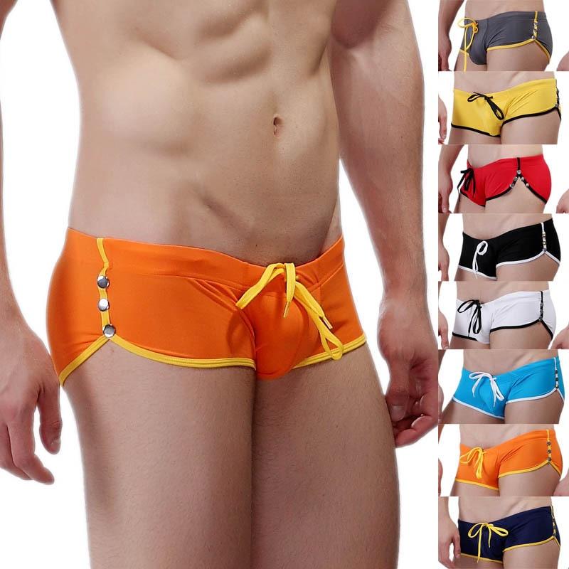 WJ Brand Men's Swimwear Swimsuits Beach Surf Board Shorts Button&Bandage Men Swimming Trunks Briefs Boxer Swim Suits Gay Pouch
