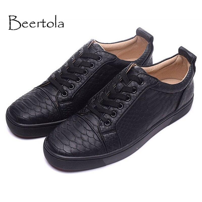 Klassische Muster Up Sneakers Atmungsaktive Schlange Schwarzes Freizeitschuhe Neue Schuhe Beertola Echtes Handgemachten Lace Schwarz Männer Herren Leder IYnP8gS