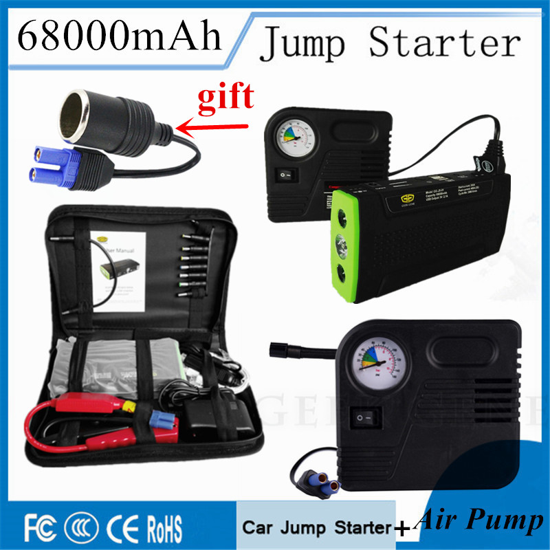 Car Battery Charger 68000mAh Car Jump Starter Multi functional Car Power Bank With Car Air Pump
