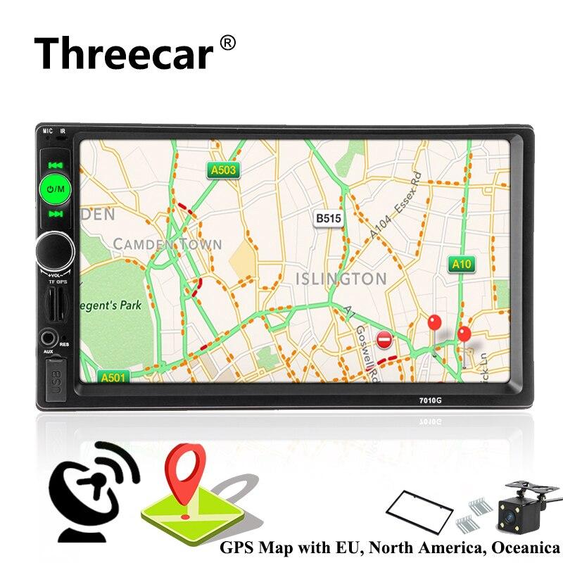 2 din autoradio coche Radio Multimedia Player navegación GPS Cámara Bluetooth MP4 MP5 de Audio estéreo Auto dirección electrónica-rueda