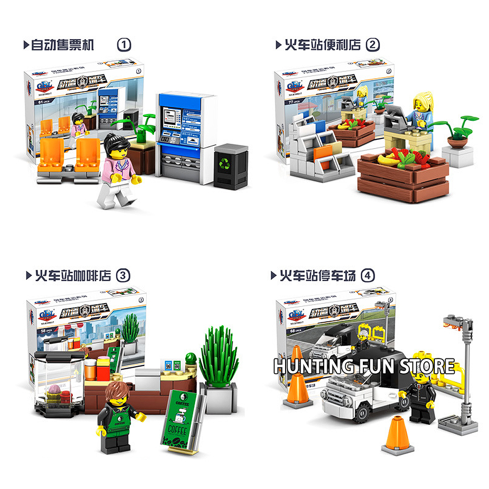 US $20 08 |4in1 Set KY98217 Train Station Coffee store vending machine CVS  Parking Minifigs Mini figures Pack Building Blocks Toys Kids-in Blocks from