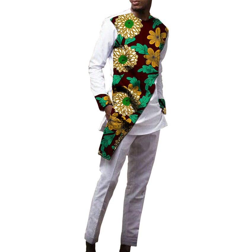 Hommes africains patchwork chemises + pantalons imprimé africain homme Ankara tenues chemise avec pantalon 2 pièces ensemble vêtements personnalisés
