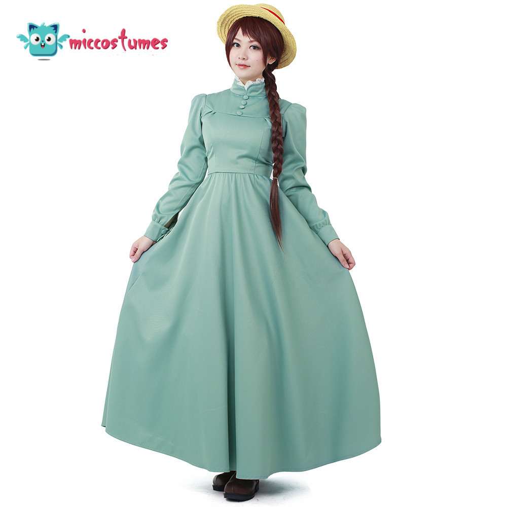 Anime Howl's Moving Castle Sophie Cosplay Women Costume Long Dress