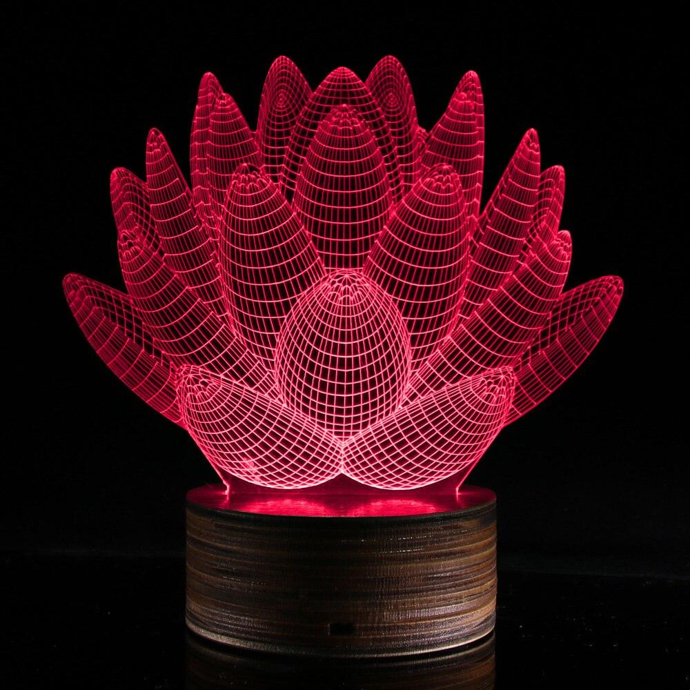 LED Table Light Novelty Indoor Lights Home Decor Atmosphere Lamp 3D Hologramm Illusion Lotus Shape Desk Light Color Changing novelty 3d full moon lamp led night light usb rechargeable color changing desk table light home decor 8 10 12 15 18 20cm