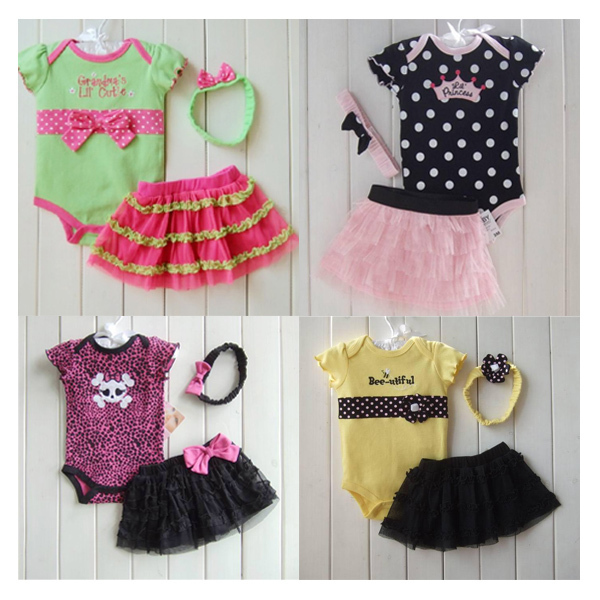 2014 Summer New Baby Girl's Clothing Sets Short Sleeve Cotton Romper/Jumpsuit+Chiffon Cake Skirt+Headband 3PC Set Free Shipping