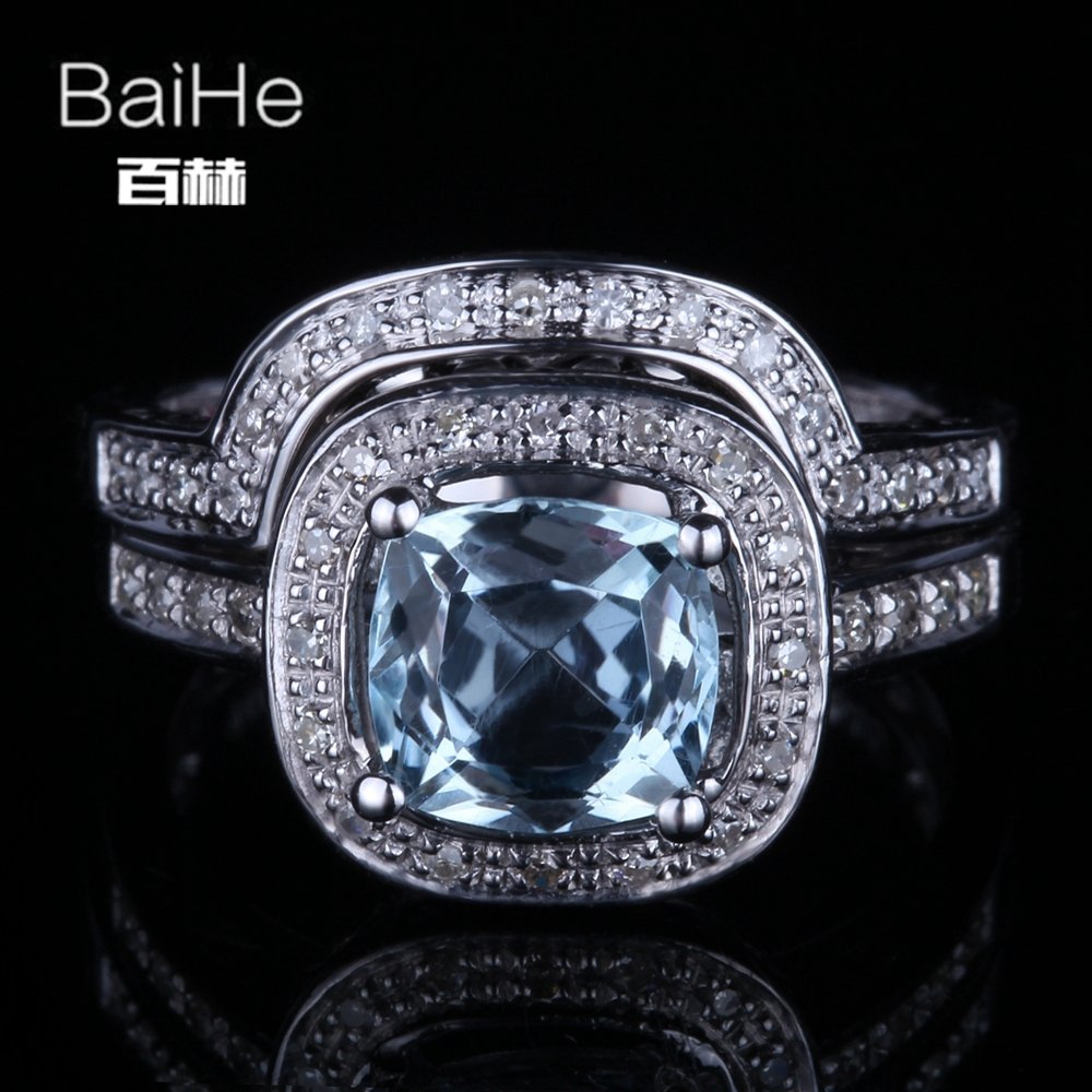 BAIHE Solid 14K White Gold(AU585) 1.9CT Certified Flawless Cushion Genuine Sky Blue Topaz Wedding Women Trendy Fine Jewely RingBAIHE Solid 14K White Gold(AU585) 1.9CT Certified Flawless Cushion Genuine Sky Blue Topaz Wedding Women Trendy Fine Jewely Ring