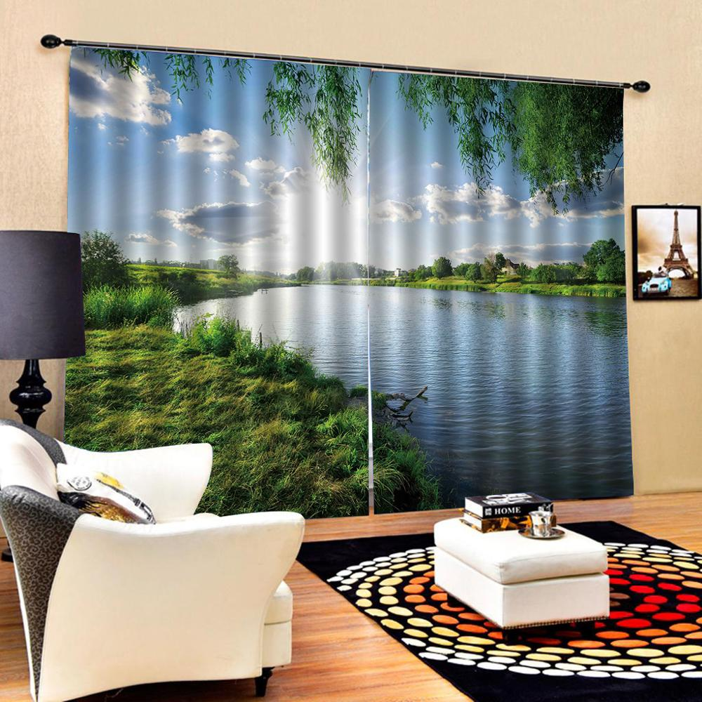Customized size Luxury Blackout 3D Window Curtains For Living Room nature curtains blue sky and green scenery crutain