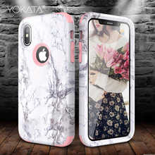 YOKATA Luxury Hard Marble PC Silicone Bumper Case for iPhone 6 6s 7 8 Plus for iPhone 5 SE X 360 Case Cute Unicorn 3 in 1 Cover