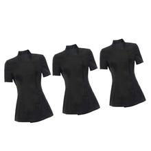 3 adet Dayanıklı kadın Siyah Salon Tunik Güzellik Tırnak Spa Üniforma Sağlık Iş Elbisesi Güzellik S M L