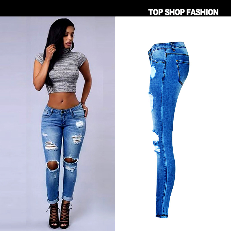 Suvance Fashion Stretchable Low Waist Ripped Holes Spring Cotton Pencil Jeans Qaulity Materials Trousers Jeans Women Bottom ! Plus Size Women's Clothing & Accessories