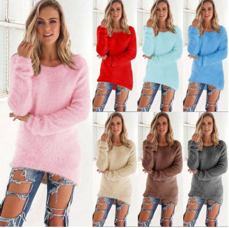 Women Sweaters and Pullovers Casual Hippocampus Wool Candy Color Loose Winter Autumn O-neck Sweater Mujer Oversize Long Christma