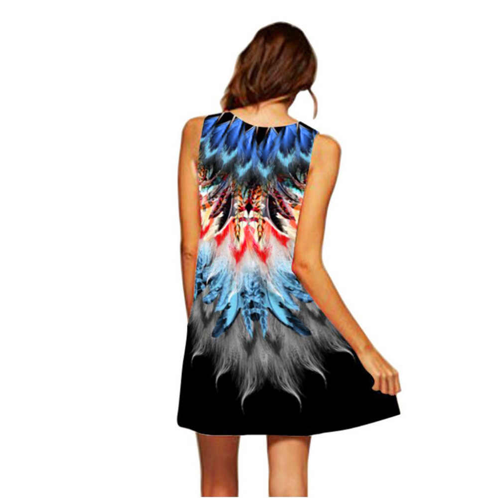 2019 女性ドレスファッションノースリーブ女性ギフトプリントドレスエレガントな夏の女性のカジュアル高品質ローブフェムセクシーホット販売 DD5