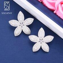 SISCATHY Fashion Jewelry Luxury Full Cubic Zirconia Inlaid Statement Earrings Charms Women Shining Flower Stud 2019