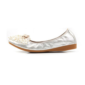 Image 2 - Beyarnebutterflyノットポインテッドトゥレディース靴フラッツ新ストリングビーズカジュアルバレエシューズプラスサイズ 45 scarpeドナ女性