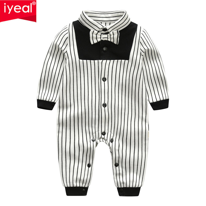 IYEAL Newest 2018 Autumn Baby Boy Clothes Cotton Long Sleeved Toddler Boy Clothing Striped Bow Tie Gentleman Infant Baby Rompers nyan cat baby boy clothes short sleeves gentleman bow tie vest romper hat 2pcs set outfit jumpsuit rompers party cotton costume