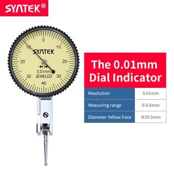 Syntek Meetklok 0-0.8mm Schokbestendig Antimagnetisch Dial Test Hendel Indicator 0.01mm Hoge Precisie Wijzerplaat Gauge Diameter CE SGS