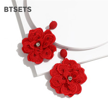 Bohemian Red Crystal Flower Earrings Rhinestone Large Long Drop Earrings Jewelry for Women Fashion Statement Earrings Sequins(China)