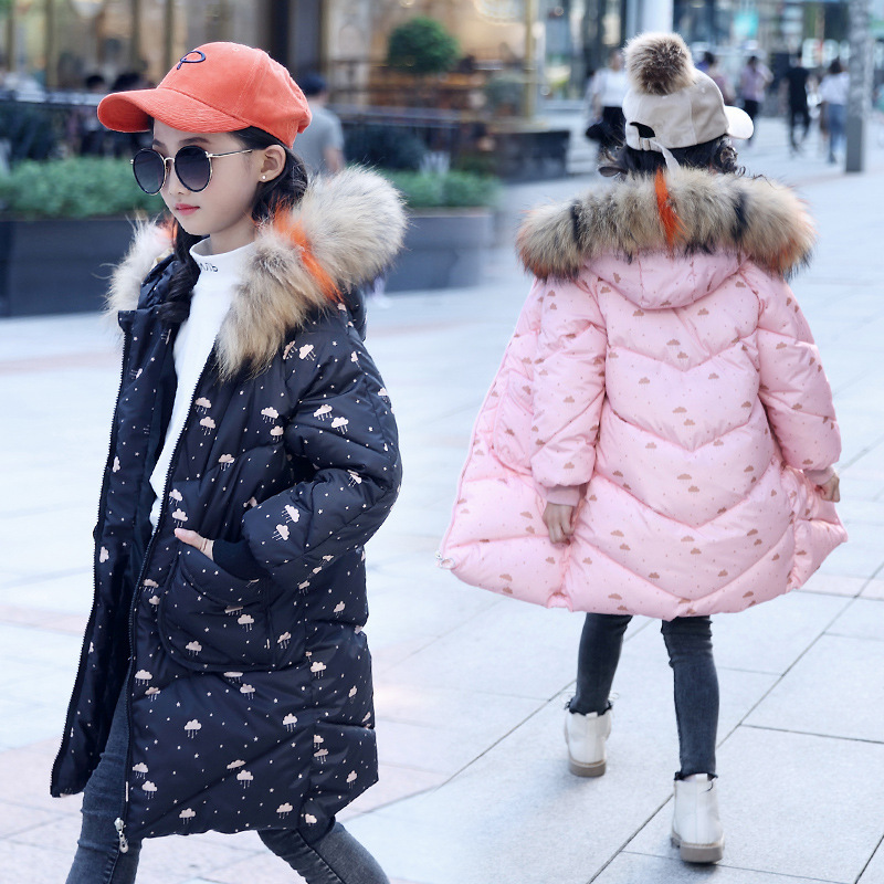 2018 Girls Winter Parkas Girl Hooded Warm Jacket Children Fashion Big Fur Collar & Pockets Cotton-padded Jackets High Quality стоимость