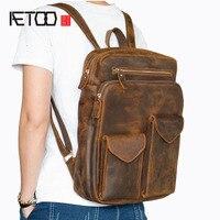 BJYL прочная мужская кожаная сумка через плечо для путешествий рюкзак голова кремовая кожаная сумка