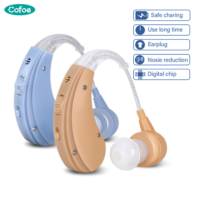 Cofoe Rechargeable BTE Hearing Aid for The Elderly  Hearing Loss Sound Amplifier Ear Care Tools 2 Color Adjustable Hearing Aids(China)