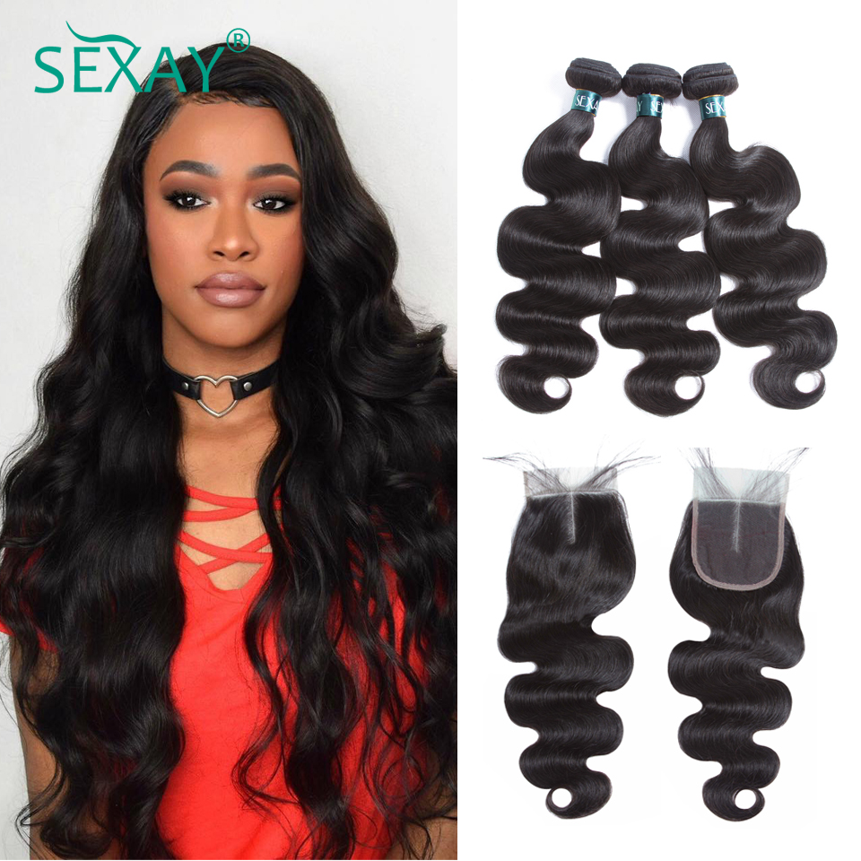 Hot Sale Sexay Brazilian Body Wave With Closure 100 Human Hair