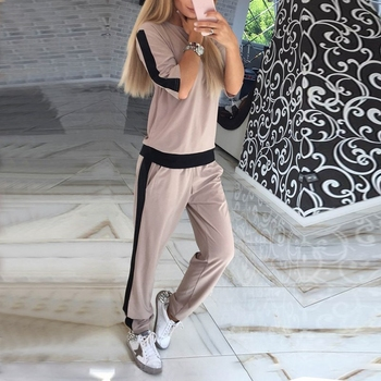 Casual Tracksuit Newest Autumn O Neck Short Sleeves Sporting Suit Two Pieces Sets Women Sportswear