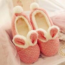 Accueil Chaussures Polka Dot Lapin Mignon Oreilles Velues Coton Intérieur Chaussons Femme Schoenen Pantuflas Rose Pantoufles Femmes Pantofole Donna