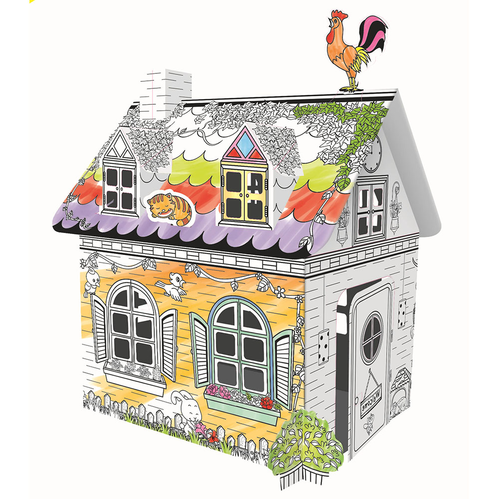 1 Set Creative Crafts Early Education Art Coloured Graffiti House Children's Hand-Painted Toys To Send 6 Color Pen Toys