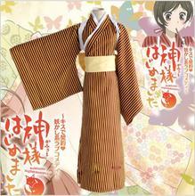 Kimono japonés de Anime Kamisama Beso Nanami Momozono Cosplay Ropa (ropa + Faja + Arco + Blanco de La Correa de Hombro)