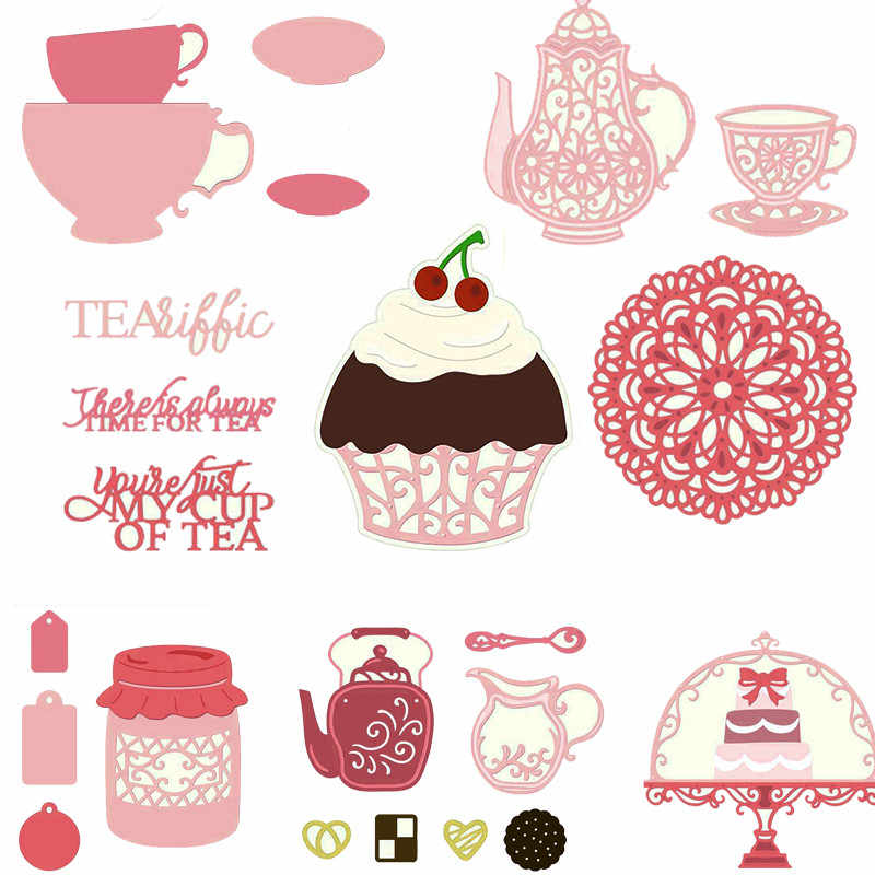 Cups Teapot Jar Coaster Cake Metal Cutting Dies Stencils For DIY Scrapbooking Party Decoration Embossing Card Craft Die Cut New