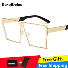 DesolDelos Oversized men square eyeglasses frame women rimless 2019 vintage octagonal glasses frames metal clear lens