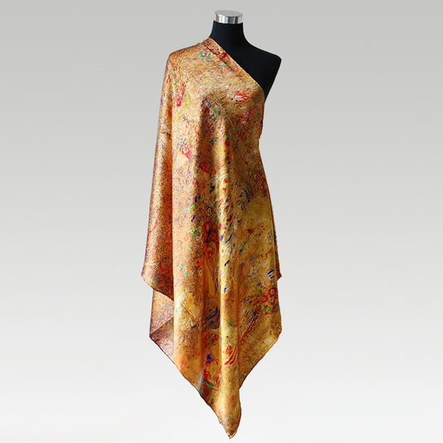 [Long Scarf]100% Silk Satin Scarf 85cmX195cm Luxury Long Shawl Natural Mulberry Silk Scarves New Spring Winter Shawl For Women