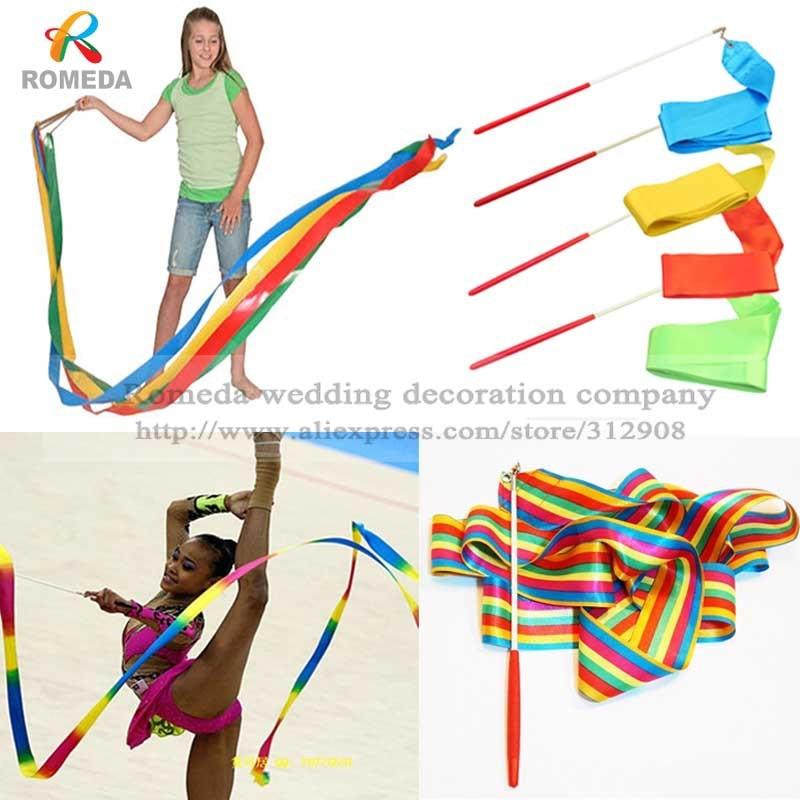 Kids Gym Dance Ribbon Gymnastic Streamer Baton Rhythmic Art Twirling Rod Fun