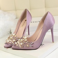 BIGTREE 2018 Women 10cm Extreme Thin High Heels Crystal Satin Purple Pumps Pearl Female Escarpins Stiletto Wedding Runway Shoes