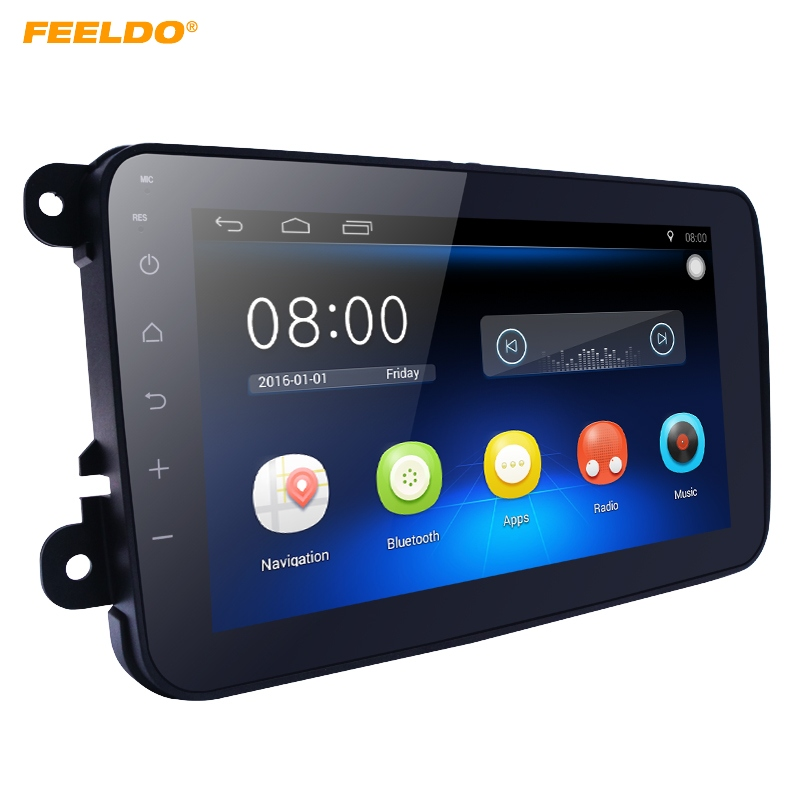 FEELDO NEW 8 Ultra Slim Android 6.0 Quad Core Car Media Player With GPS Navi Radio For VW Golf /Polo/Jetta/Skoda Octavia +Gift feeldo 7inch android 4 4 2 quad core car media player with gps navi radio for nissan hyundai universal 2din iso gift am3900