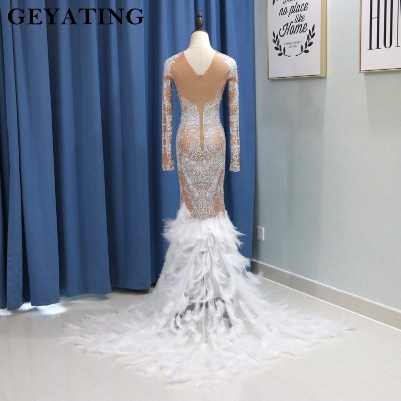 Luxury Heavy Crystal Feather Mermaid Long Prom Dresses for Black Girls 2k18  Long Sleeve African Formal Dress Evening Party Gowns-in Prom Dresses from  ... fcbddd990fec