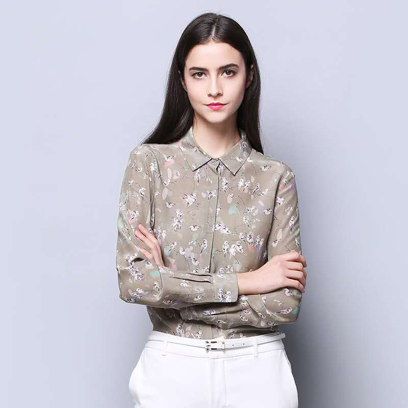 Office Lady Real Silk Turn Down Collar Shirts Single Breasted Women 100% Nature Silk Blouses 2018 Autumn New OL Elegant Tops