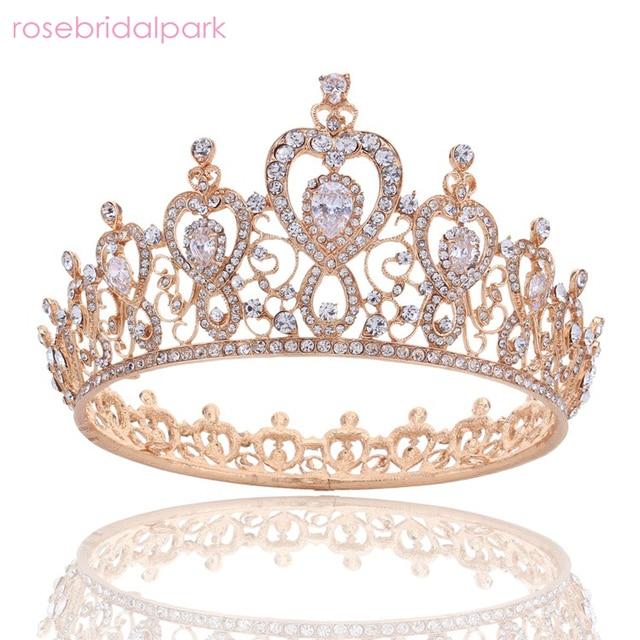 Rosebridalpark New Luxurious Rhinestone Quinceanera Tiaras Princess Crown Headpiece Wedding Bridal Tiara Diademas A601